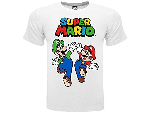 Fashion UK T Shirt Mario et Luigi. T-shirt officiel 100 % coton. Couleur blanc avec logo. Produit sur Licence. Tailles enfant garçon. - Blanc - 7-8 ans