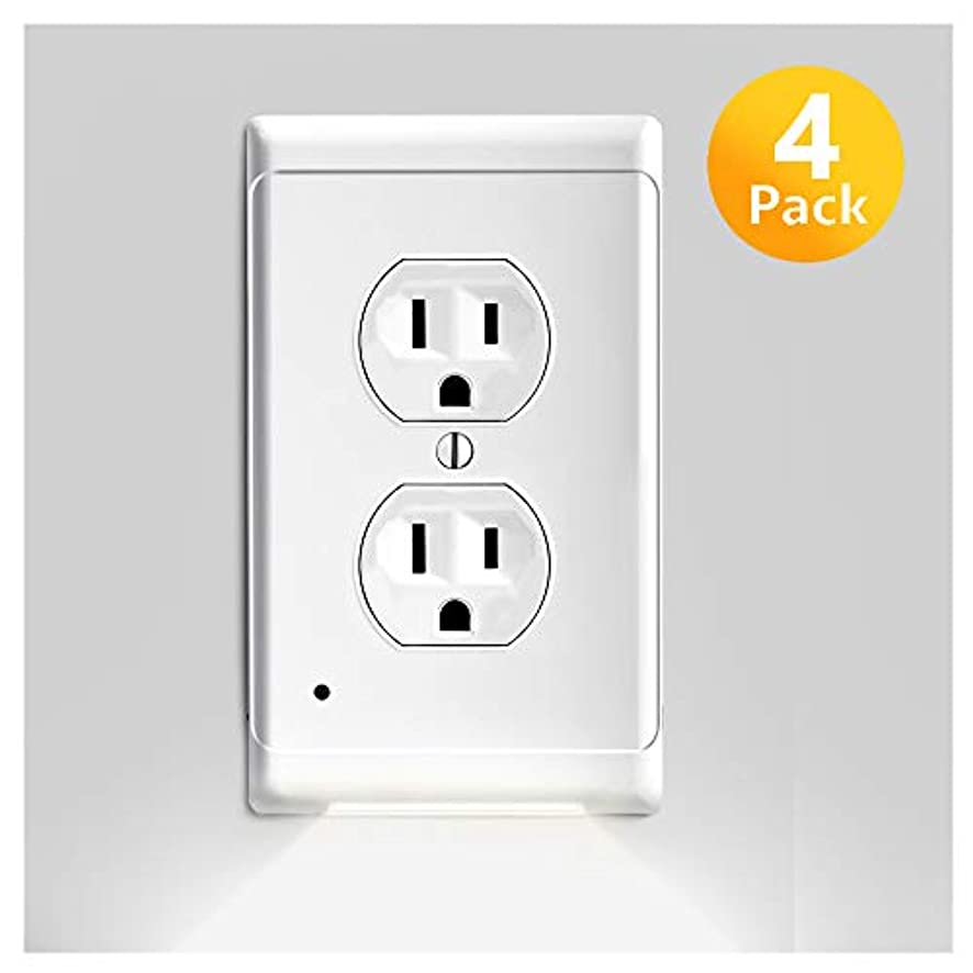 Outlet Covers with LED Night Lights, 4 Pack Guidelight Electrical Nightlight Wall Plates Vision Lighted Switch Cover Plates for Pathway Hallway, Bedroom, No Batteries/Wires