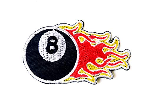 TH Flaming Eight 8 Ball Pool Black Billiards Emblem Badge Patch Biker Motorcycle Embroidered Applique Sew Iron on Patch for Hat Jackets Bags Jeans T-Shirt Backpacks Costume