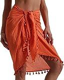 Vestidos Verano Mujer de Playa Semi-Transparente Ropa de Bao Baador de Gasa Falda Corta con Borlas