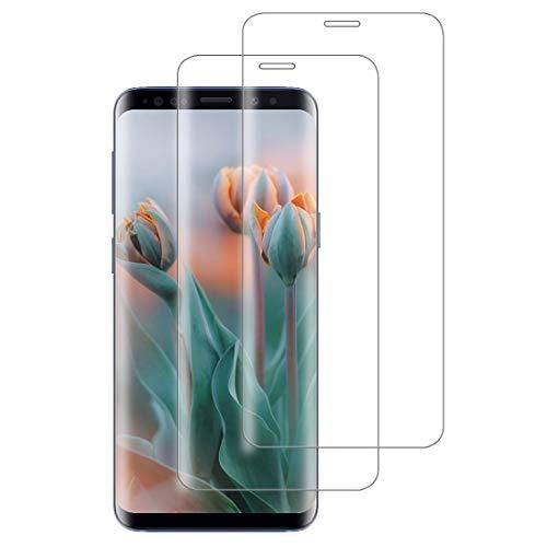 XSWO 2 Unidades Cristal Templado Compatible con Samsung Galaxy S9 Plus, [3D Cobertura Completa] [Anti Huella Digital] [9H Dureza] [Sin Burbujas] Vidrio Templado, Protector de Pantalla Galaxy S9 Plus
