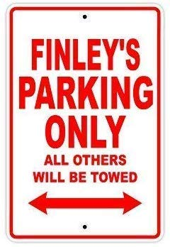 DKISEE Retro Tin Sign Vintage Bar Signs - Finley's Parking Only All Others Will Be Towed Name Gift Novelty Metal Aluminum Sign, Vintage Look Metal Sign 12x18 inch