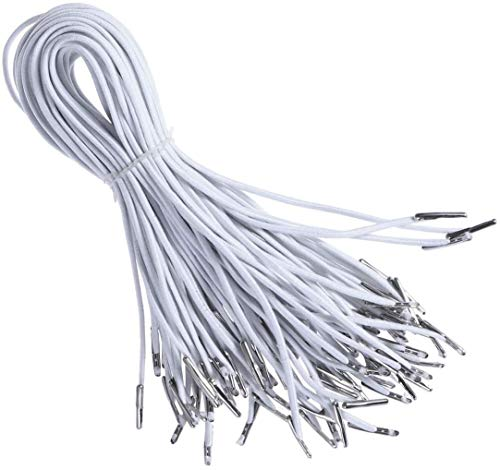 YTDTKJ 100Pcs 2mm Elastic Barbed Cord Stretch Round String Elastic Rope Band with Silver Dual Metal Barbs Elastic Spool for DIY Sewing Crafts and Masks Hats, Binding, Hanging (White)