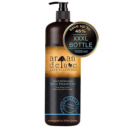 Argan Deluxe Herren Shampoo in Friseur-Qualität TESTURTEIL SEHR GUT - 1000 ml - Starkes Pflegeshampoo mit Minze für Männer