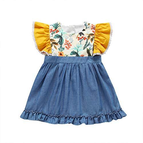 Moda Suave para Fiesta 2019 Beb/é Ni/ños Ni/ñas Rayas Vestidos Ropa Linda Vestido Sin Manga Conejitos Verano Vestido De Princesa Falda Bautiz Casual 3-7a/ños VECDY Conjuntos Bebe Ni/ña