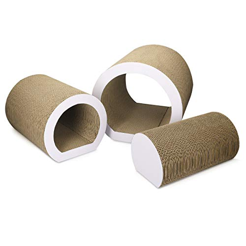 Navaris Túnel rascador para Gato - Tabla de rascar para Mascotas - Tableros Redondos 3 en 1 - Afilador de uñas de cartón Corrugado