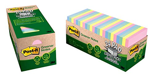 Post-it Greener Notes, 3x3 in, 24 Pads, Americas #1 Favorite Sticky Notes, Helsinki Collection, Pastel Colors (Pink, Blue, Mint, Yellow), Clean Removal, 100% Recycled Material (654R-24CP-AP)
