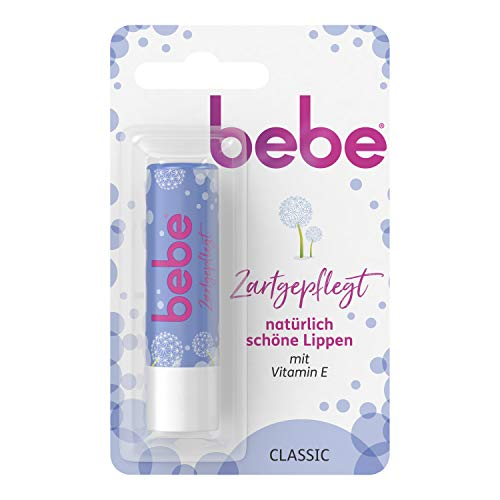bebe Zartgepflegt Lippenpflege, Lippenpflegestift Classic mit Vitamin E, Trockene Lippen, 4,9 g