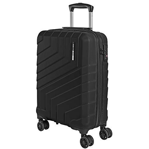 Maleta de Mano Rigida - Aprobada para Ryanair y Easyjet 55x40x20 cm - Equipaje de Cabina Ligero ABS - Trolley de Viaje Cerradura TSA y 4 Ruedas Dobles Multidireccionales - Perletti Travel (Negro, S)