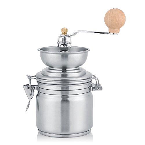 Molinillo de Café Manual, Mini Molino de Café Amoladora Portable del Acero Inoxidable (Plateado)