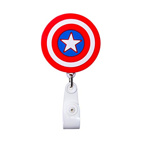 Cartoon Retractable Badge Reel - Holder for ID and Name Tag with Belt Clip, Great Gift for Nurse and Medical Workers, Cute ID Holders for Nursing School Student, RN, or CNA (Captain America Shield)
