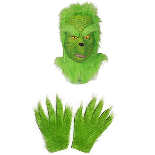 YANXS Adulto Niños Máscara de Monstruo Verde Grinch, Divertido Navidad Cosplay Máscara de Fiesta Sombrero Cabeza Completa Máscara De Látex Disfraz de Adulto Máscara Accesorios,C Mask + Gloves