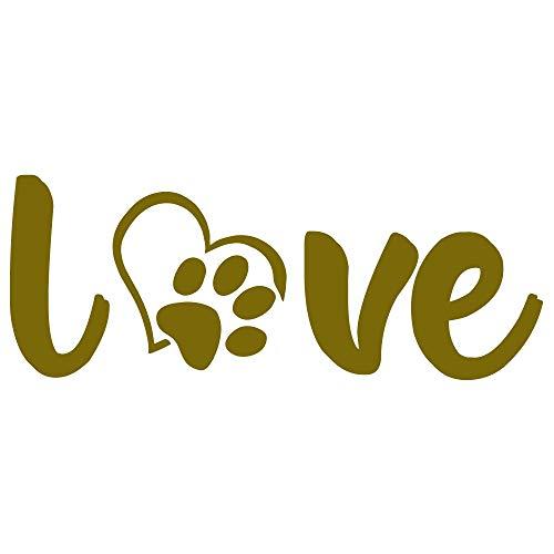 Paw Love Gold Paw Dog Room Decor Decals (4x11 inch pet Decal) Dog Wall Decor Vinyl Paw Print Sticker Animal Footprint Wall Art Decoration