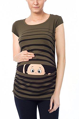 Camiseta premamá de manga corta, diseño divertido caqui S