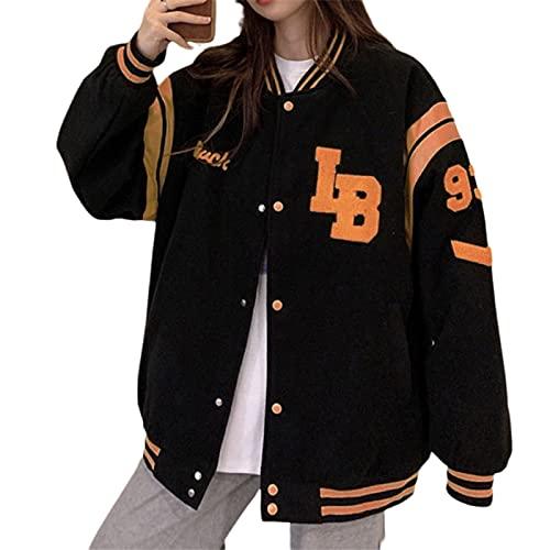 Women Y2k Oversized Baseball Jackets Coat Unisex Bomber Jacket Snap-Front Boyfriend Hip Hop Varsity Jacket Sweatshirt Streetwear (A-Black , X-Large )