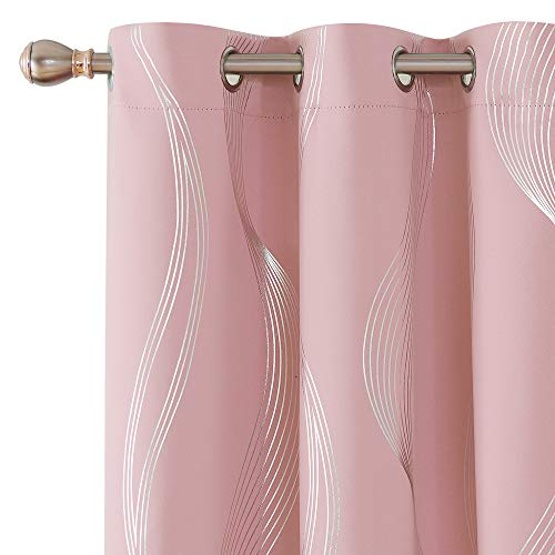 Deconovo Foil Print Blackout Curtains Room Darkening Energy Saving Wave Line Grommet Curtains for Living Room Set of 2 Coral Pink 42x54 Inch