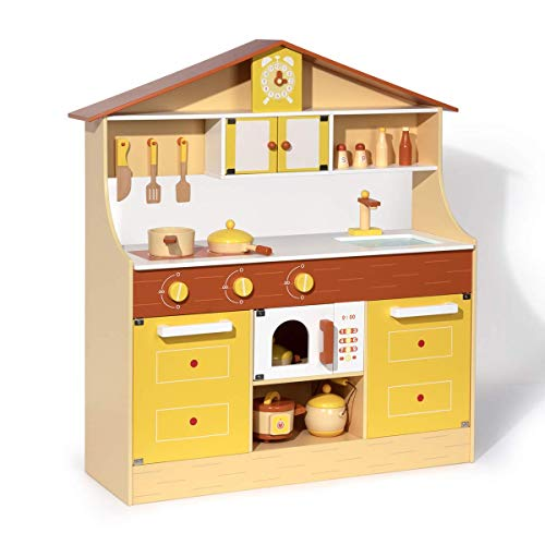 ROBUD Wooden Play Kitchen Set for Kids & Toddlers, Pretend Play Toy Gift for Girls & Boys, Aged 3 Years Old and Up