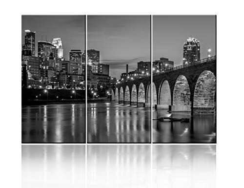 America Native Wall Art -3 Pieces Black and White Minneapolis Skyline Modern Artwork Cityscape Panoramic Pictures Paintings on Canvas Decoration for Living Room Office Home Kitchen Decor Ready to Hang