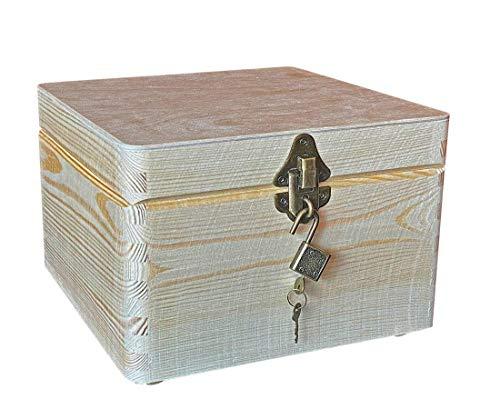 MidaCreativ abschließbare, quadr. Aufbewahrungsbox/Holzkiste Cube, Kiefer (Schloss 2-antik)