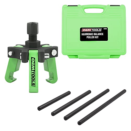 """OEMTOOLS 25090 Harmonic Balancer Puller Kit, Adjustable 3-Jaw Puller Fits Most Late Model Automobiles & Trucks, Forcing Screw Fits a 3/8"""" Square Drive, Includes 4 Forcing Rods, 6 Piece"""