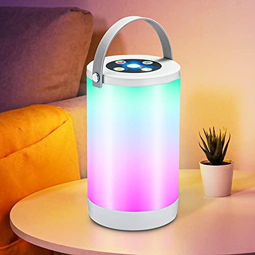 Nachttischlampe RGB, Dimmbar Atmosphäre Tischlampe mit Warmweißem Licht & Farbwechsel, LEOEU USB Wiederaufladbare LED Nachtlampe für Schlafzimmer Wohnzimmer und Büro, Ein-Griff tragbar