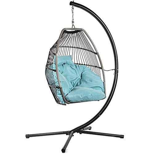 Outdoor Patio Hanging Egg Chair Swing Large Soft Cushion Heavy Duty Frame Blue