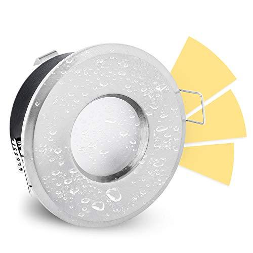 linovum LED Bad Einbauspot fourSTEP 5W warmweiß dimmbar ohne Dimmer mit IP65 Einbaurahmen (wassergeschützt) Edelstahl Optik