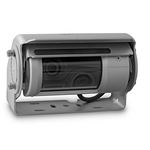 Carmedien 150° Premium Doppel Shutter Rückfahrkamera cm-DSKRFK mit Schutzklappe Scheibenwischer Heizung Mikrofon 12V 24V Edelstahlkamera