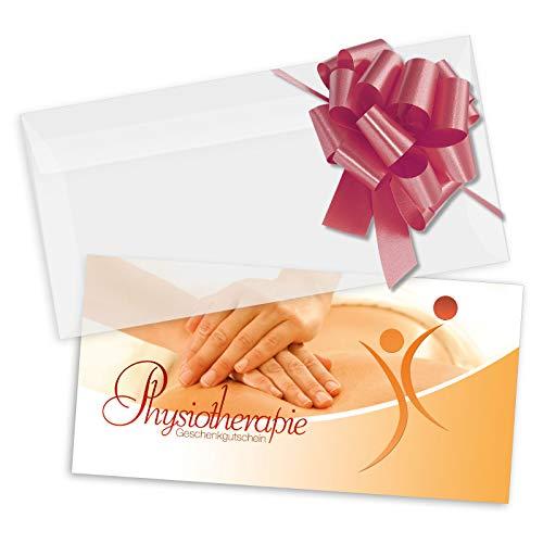 10 Geschenkgutscheine DIN-lang + 10 Kuverts + 10 Schleifen. Gutscheine für Physio Physiotherapie. MA9242