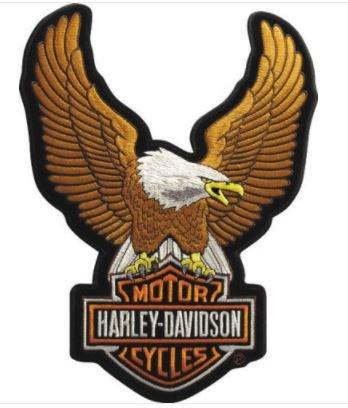 Patch Harley Davidson Modello upwing Eagle Toppa termoadesiva Ricamo cm 10 x 7,5 Replica -1313