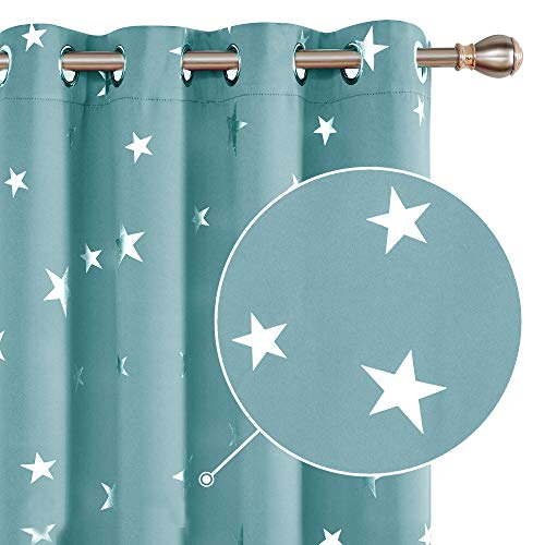 Deconovo Cortina Opaca para Habitación Matrimonio de Estrellas Plateadas Estilo Moderno Elegante con Ojales 2 Piezas 132 x 214 cm Azul Cielo