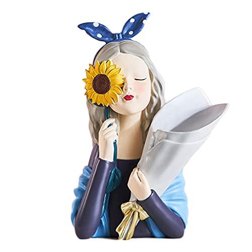 Florero Creativo con Estatua De Girasol para Niña, Adorno De Resina para Niña, Esculturas De Arte Moderno para El Hogar, Decoraciones para Sala De Estar, Dormitorio, Oficina,Azul