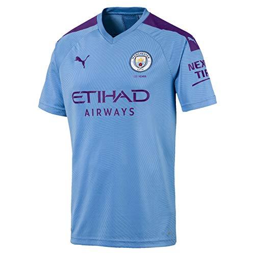PUMA Herren MCFC Home Shirt Replica SS with Sponsor Logo Trikot, Team Light Blue/Tillandsia Purple, S