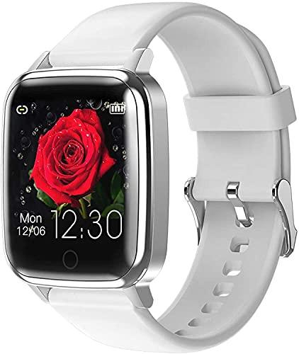 QHG Pantalla de Color Reloj Inteligente Ritmo cardíaco de la presión Arterial Monitoreo de la Salud Watch Sports Paso Bluetooth Podómetro Fitness Tracker (Color : White)
