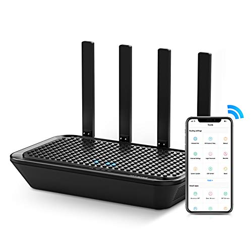 WiFi Router- AC2100 Dual-Band Smart Wi-Fi Router Upgrades to 2033 Mbps (5G) High-speed, Features MU-MIMO, 4 Gigabit LAN Ports, ONE SSID, Parental Control, Lifetime Internet Security for Video & Gaming