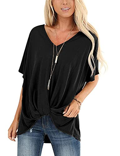 maxi maglia UNibelle Maglietta Donna Tee T-Shirt Maglietta Tinta Unita Eleganti V-Collo Manica Corta Casual Camicetta