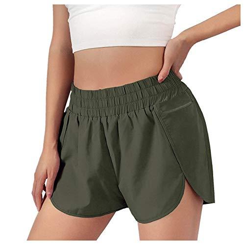 KYZRUIER Pantalones cortos de running para mujer, de secado rápido, cintura elástica, pantalones cortos de entrenamiento con bolsillos, leggings atléticos para gimnasio