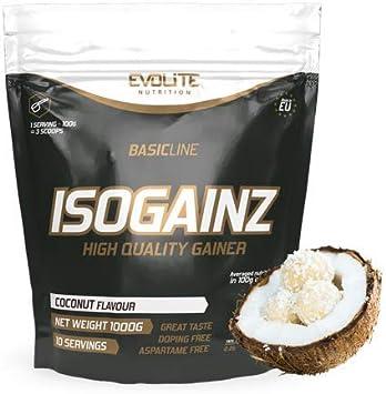 Evolite IsoGainz - Mass Gainer - 1 paquete x 1000 g - 3 tipos de proteínas de suero - Con la adición de maltodextrina (Coconut, 1000g)