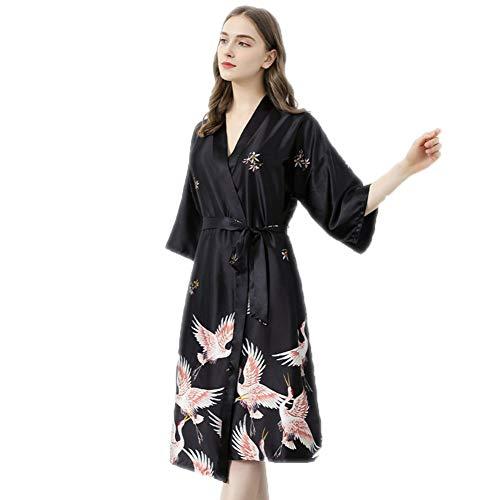 Yiyu Damen Kimono Lang Robe Seide Satin Pyjama Bademantel Kleider Pfau Floral Gedruckt V-Ausschnitt x (Color : Black, Size : XXXL)