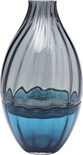 Kare Design Vase Bicolore Acqua Drop 34cm,  Blau / Transparente Vase aus Glas, Deko Vase für das Wohnzimmer, (H/B/T) 33,5x18x18cm