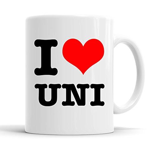 I Love Uni Funny I corazón taza