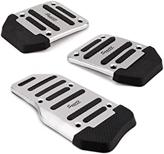 HDE 3 Piece Non Slip Pedal Kit Gas Clutch Brake Cover Pads for Manual Transmission Vehicles