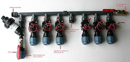Kopfstation, Verteiler für Bewässerung, Beregung mit Hunter Magnetventile PGV, Größe: 6 Magnetventile