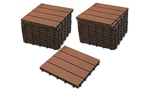 SAM Terrassenfliesen WPC Kunststoff, 22er Spar Set für 2m², Farbe teak, Bodenbelag mit Drainage, Garten Klick-Fliese