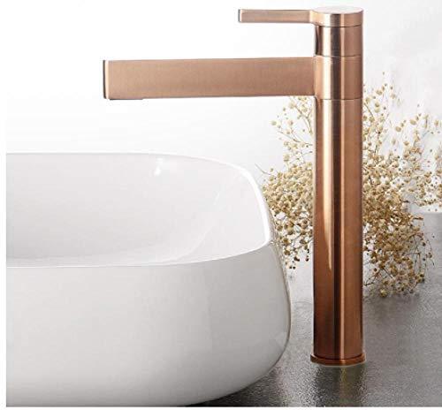 Grifo de lavabo de baño de latón dorado cepillado Grifo mezclador de agua fría y caliente montado en la cubierta Negro/Dorado/Cromo/Oro rosa