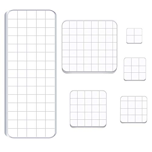 Luckkyme 6 Pieces Acrylic Stamp Block Clear Stamping Tools Set with Grid Lines for Scrapbooking Crafts Card Making, 6 Sizes