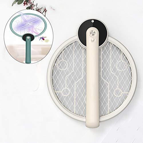 GFBHGF Elektrische Fliegenklatsche USB Aufladbar, Klappbare Mückenklatsche, Elektrische Fliegenfänger - Doppelte Schichten Mesh Schutz Ideal für Drinnen und Draußen White