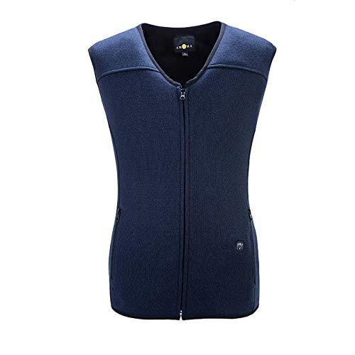 DZX Elektrisch warmte-vest voor heren, met USB-kabel, voor outdooractiviteiten, camping, fiets en ski's blauw-l.
