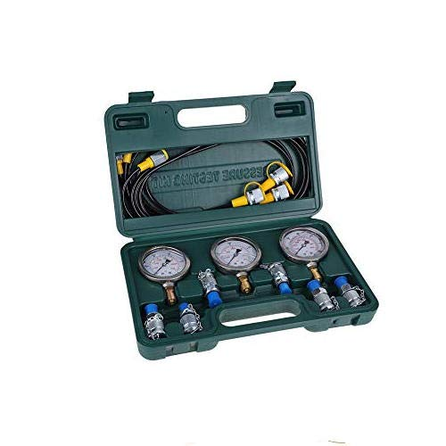 Druckmessgerät Hydraulisches Druckprüfgerät,Hydrauliksystem Hydraulic Pressure Test Coupling Kit,für den Hydraulikdrucktest,mit Prüfpunktkupplung, Manometer, Prüfschlauch,Stecker und Schutzkasten