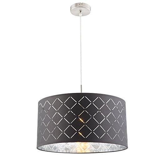 Hänge Leuchte Wohn Schlaf Zimmer Beleuchtung Textil Dekor Decken Lampe grau silber Globo 15228H